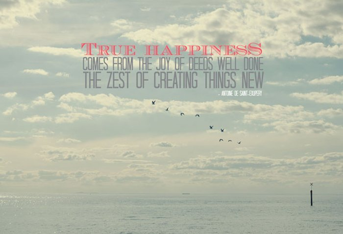 True happiness comes from the joy of deeds well done, the zest of creating things new (Antoine de Saint-Exupery)