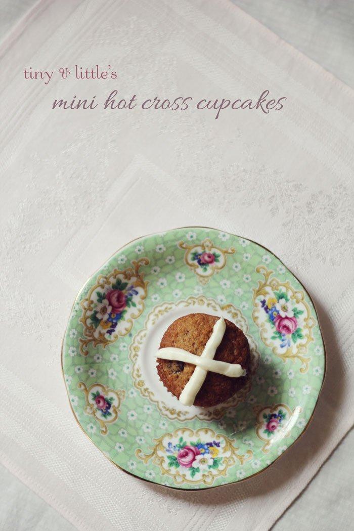 Mini Hot Cross Cupcakes