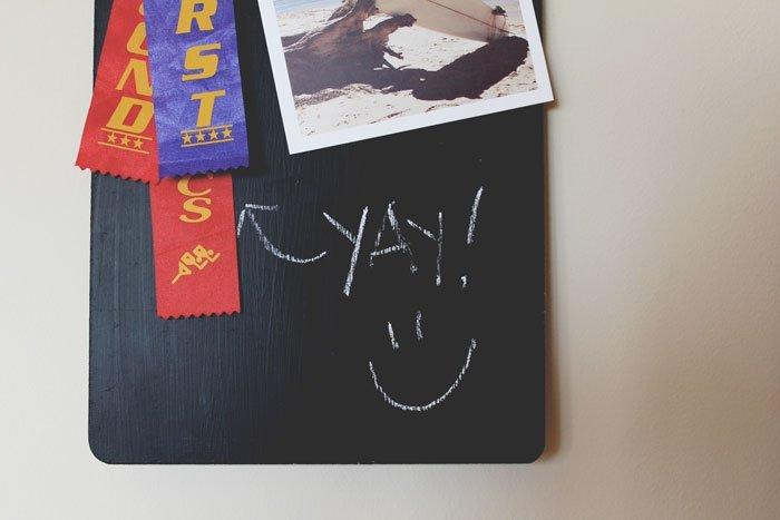 DIY chalkboard memory board