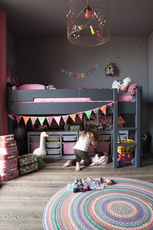 pink & grey girl's bedroom