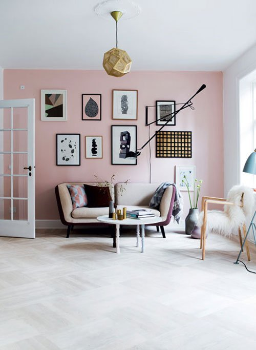 pink & grey family room