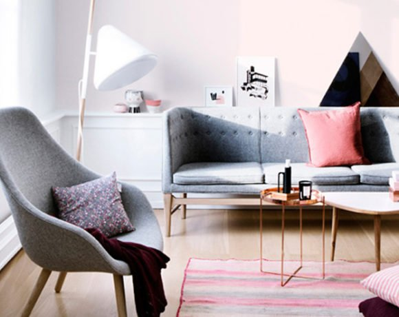 pink and grey family room