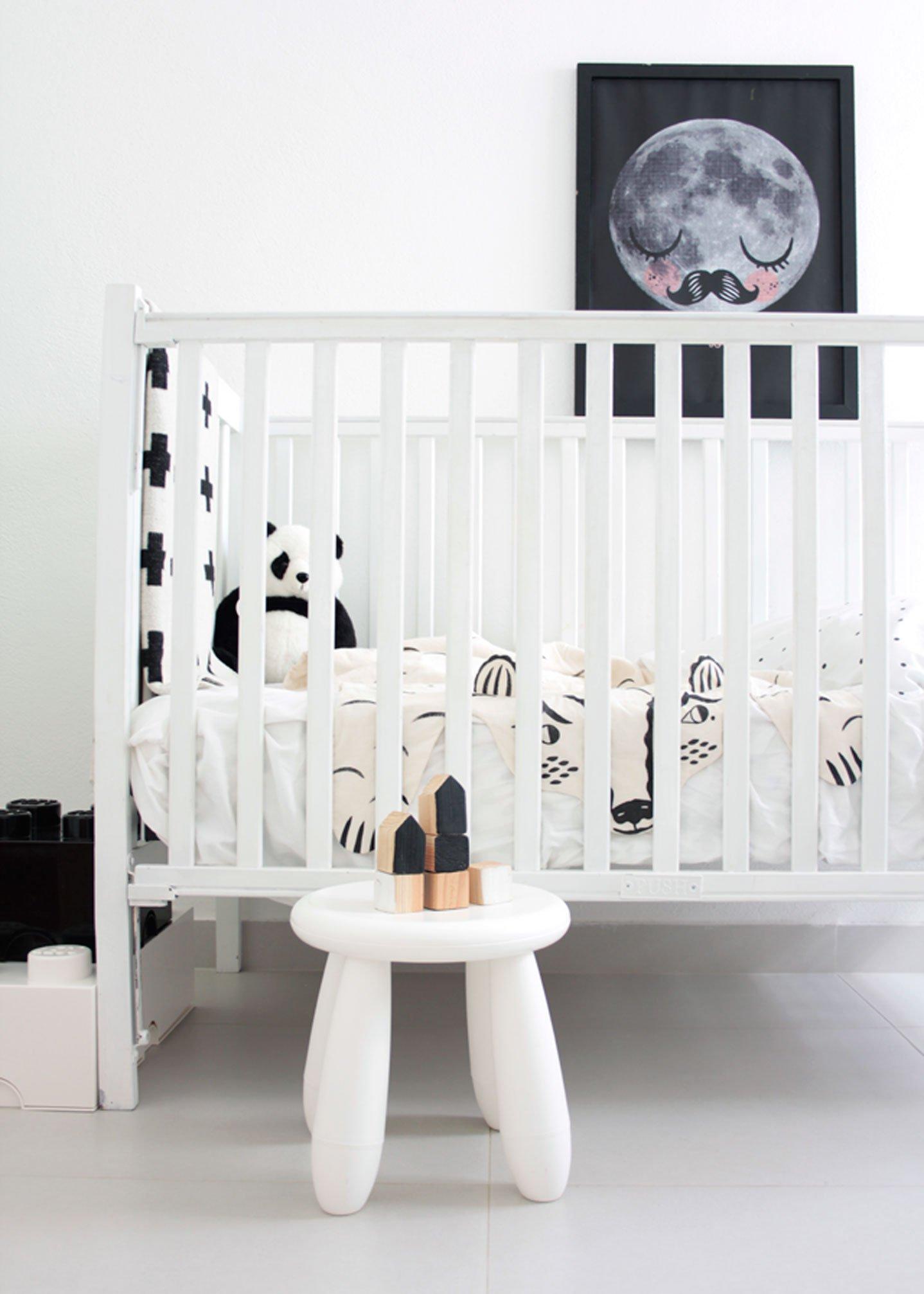 black & white kids baby nursery