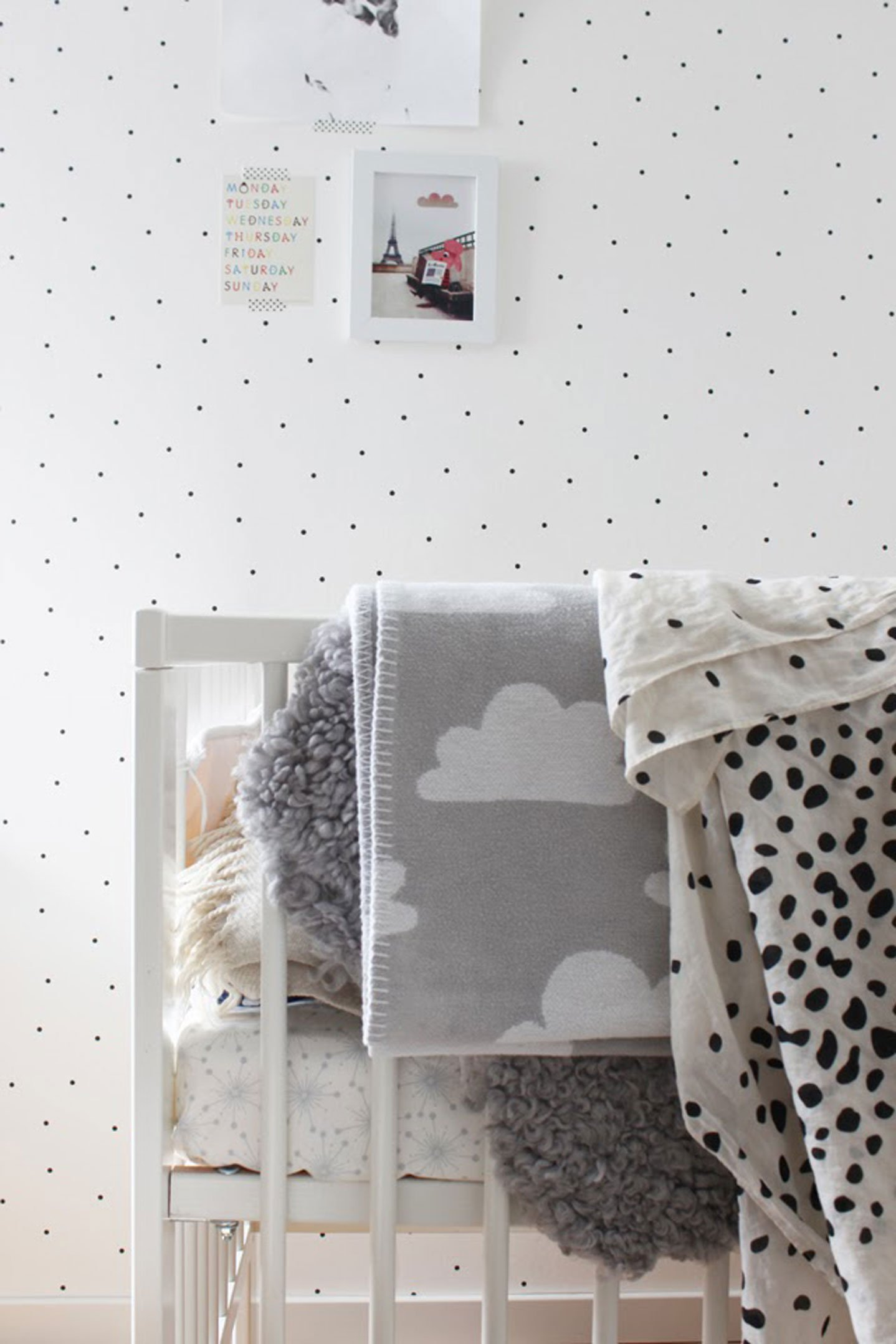 black & white kids baby nursery