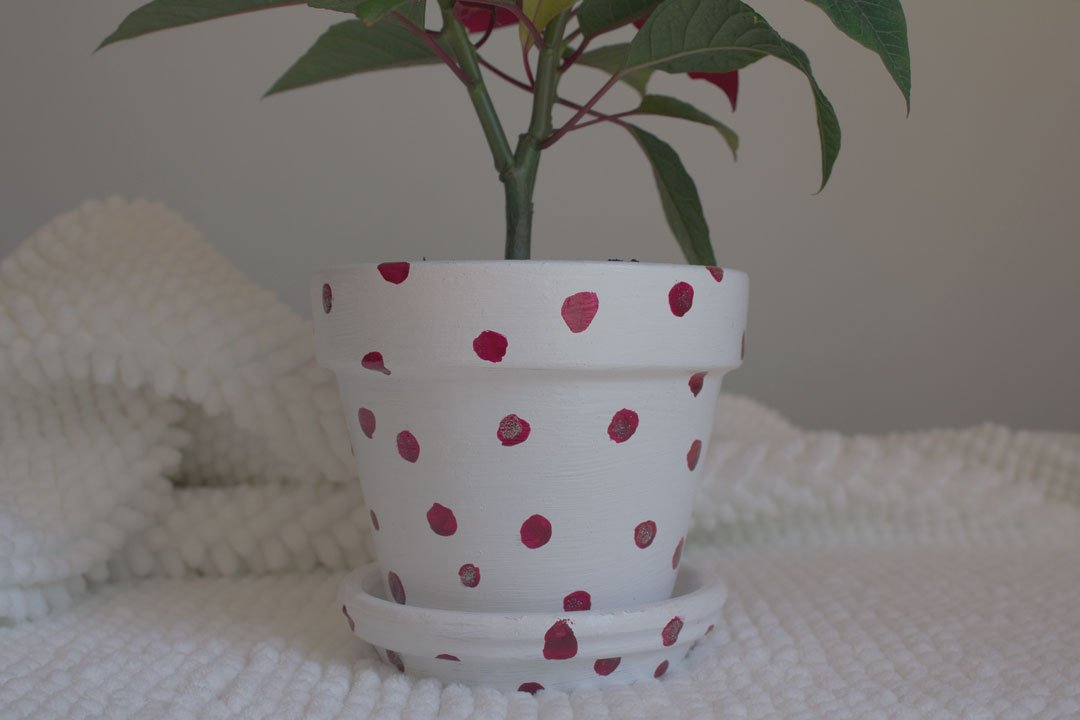 DIY pretty painted poinsetta pot Christmas DIY by tiny & little